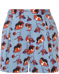 Miu Miu Floral Print Stretch Wool Gabardine Shorts