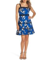Foxiedox Carmella Lace Stripe Fit Flare Dress