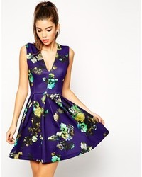Asos Collection Skater Dress In Blue Floral With Pleat Detail