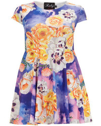Dorothy perkins ruby closet blue floral skater dress medium 129592