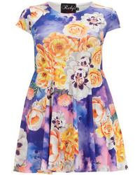 Dorothy perkins ruby closet blue floral skater dress medium 129592