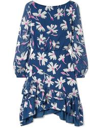 Saloni Felicia Ruffled Fil Coup Chiffon Mini Dress