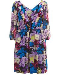 Dorothy Perkins Lovedrobe Blue 34 Sleeve Floral Dress