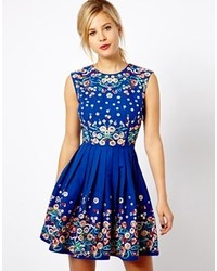 Asos Skater Dress With Floral Embroidery