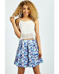 Boohoo linsay floral print box pleat skater skirt medium 58912
