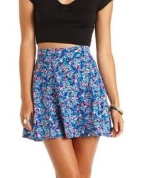 High waisted floral print skater skirt medium 58893