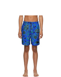Givenchy Blue Floral Printed Long Swim Shorts