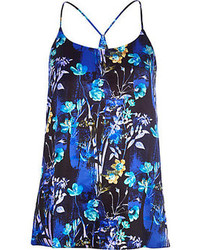 River Island Blue Floral Print Longline Cami Top