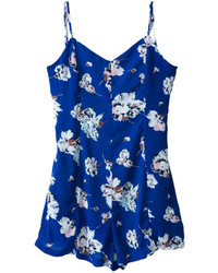 Choies Blue Floral Backless Spaghetti Strap Romper Playsuit