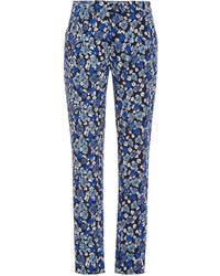 Blue Floral Tapered Pants