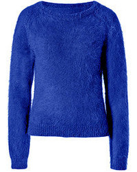 Blue Fluffy Crew-neck Sweater