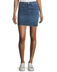 Rag & Bone Jean Dive Pencil Denim Mini Skirt W Fringed Hem