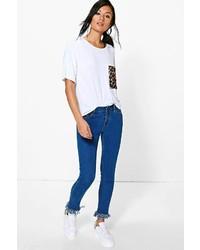 Boohoo Ava Felicity Fringe Hem Straight Leg Jeans