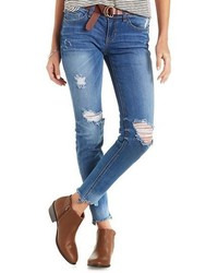 Charlotte Russe Sneak Peek Distressed Skinny Jeans With Frayed Hem