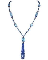 One Kings Lane Vintage 1920s Faceted Blue Glass Tassel Sautoir