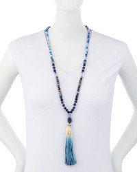 Lydell NYC Long Beaded Faux Leather Tassel Necklace Blue
