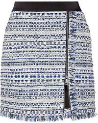 Karl Lagerfeld Satin Trimmed Fringed Metallic Tweed Mini Skirt Blue