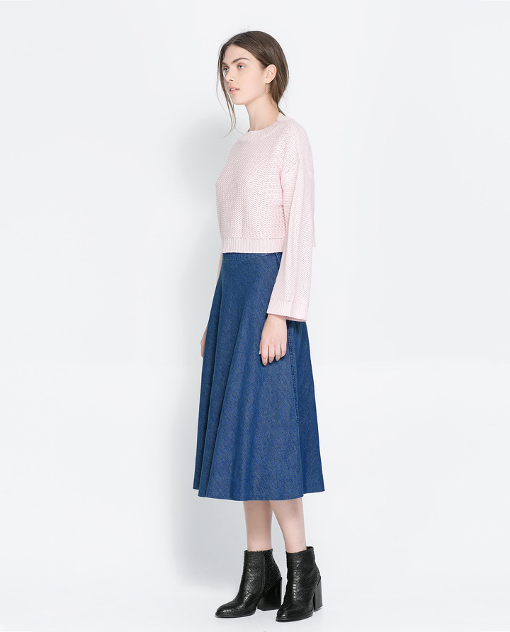 blue skirt zara denim midi skirt where to buy