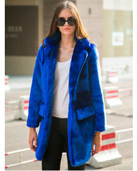 Choies Blue Quality Lapel Long Line Faux Fur Warm Coat