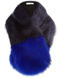 River Island Blue Color Block Faux Fur Tippet
