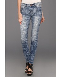 Dittos Ditto Dawn Mid Rie Skinny In Dicharge Patchwork Jean
