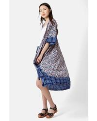 Topshop Tile Print Long Kimono
