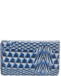 Blue Geometric Leather Clutch