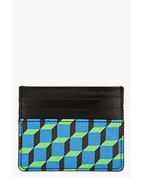 Blue green leather cube print card holder medium 22125