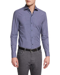 Ermenegildo Zegna Geo Print Long Sleeve Sport Shirt Navy