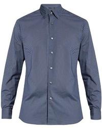Ermenegildo Zegna Micro Geometric Print Long Sleeved Cotton Shirt