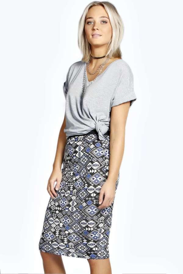 boohoo aztec printed midi skirt where to buy how