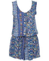 Geometrical print drawstring blue sleeveless playsuit medium 48406
