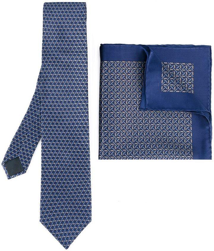 Mens Geometric-Print Silk Necktie Lanvin DAI8nud9n