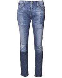 Blue Geometric Skinny Jeans