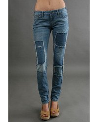 Patched skinny jean in blue medium 10570