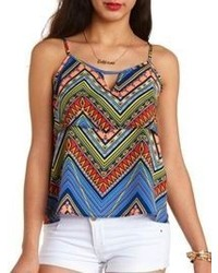 Charlotte Russe Layered Tribal Print Swing Tank Top