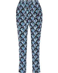 Printed silk crepe de chine tapered pants medium 268844
