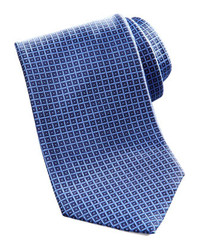 Brioni Geometric Square Silk Tie Navy