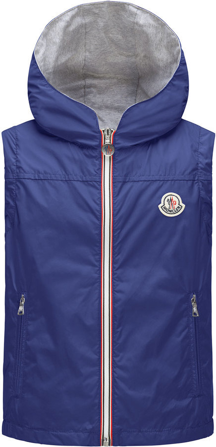3bb408c30c32 Moncler Deneb Jersey Lined Hooded Rain Vest Blue Size 8 14