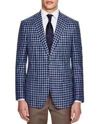 Jack Victor Loro Piana Light Blue With Brown Navy Gingham Check Classic Fit Sport Coat