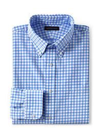 Lands' End 40s Poplin Dress Shirt Fresh Blue Multi Gingham