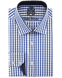 English Laundry Classic Fit Gingham Dress Shirt Royal Blue