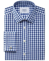 Charles Tyrwhitt Classic Fit Non Iron Gingham Navy Shirt