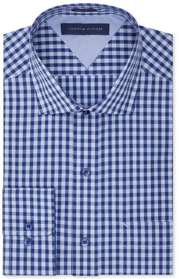 Tommy Hilfiger Easy Care Blue On Blue Gingham Dress Shirt | Where ...