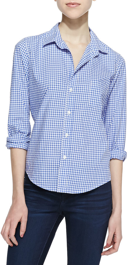 Frank Eileen Barry Gingham Button Down Blouse Bluewhite