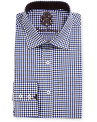 English Laundry Gingham Cotton Dress Shirt Navyblack
