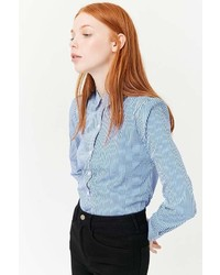 Forever 21 Gingham Curved Hem Shirt