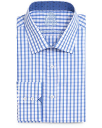 English Laundry Large Gingham Check Dress Shirt Blue