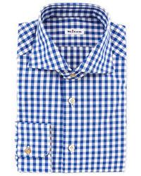 Kiton Large Gingham Dress Shirt Blue