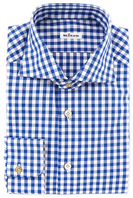 Kiton Large Gingham Dress Shirt Blue | Where to buy & how to wear